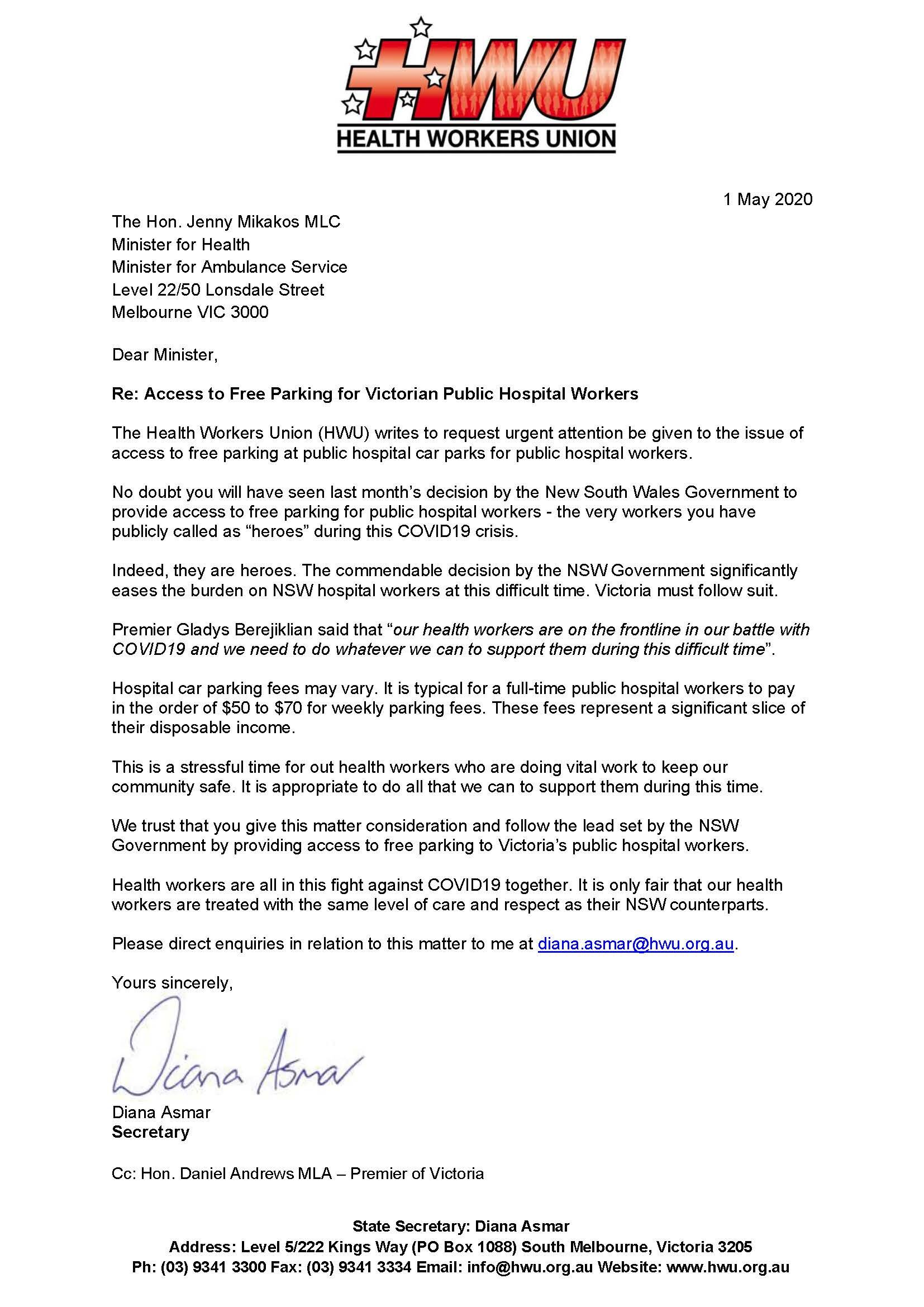 Free Parking Letter to Minister
