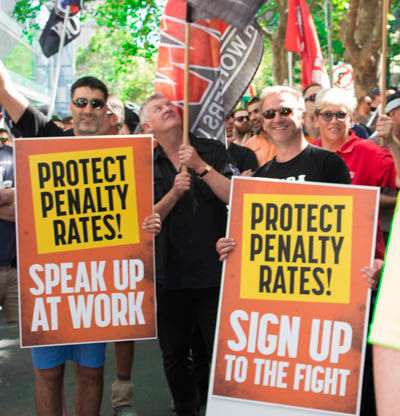 The HWU team attending the CFMEU rally in Melbourne