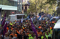 Thousands of workers amass in the streets of Melbourne on March 9th to protest recent changes made by the government and fairwork commission.
